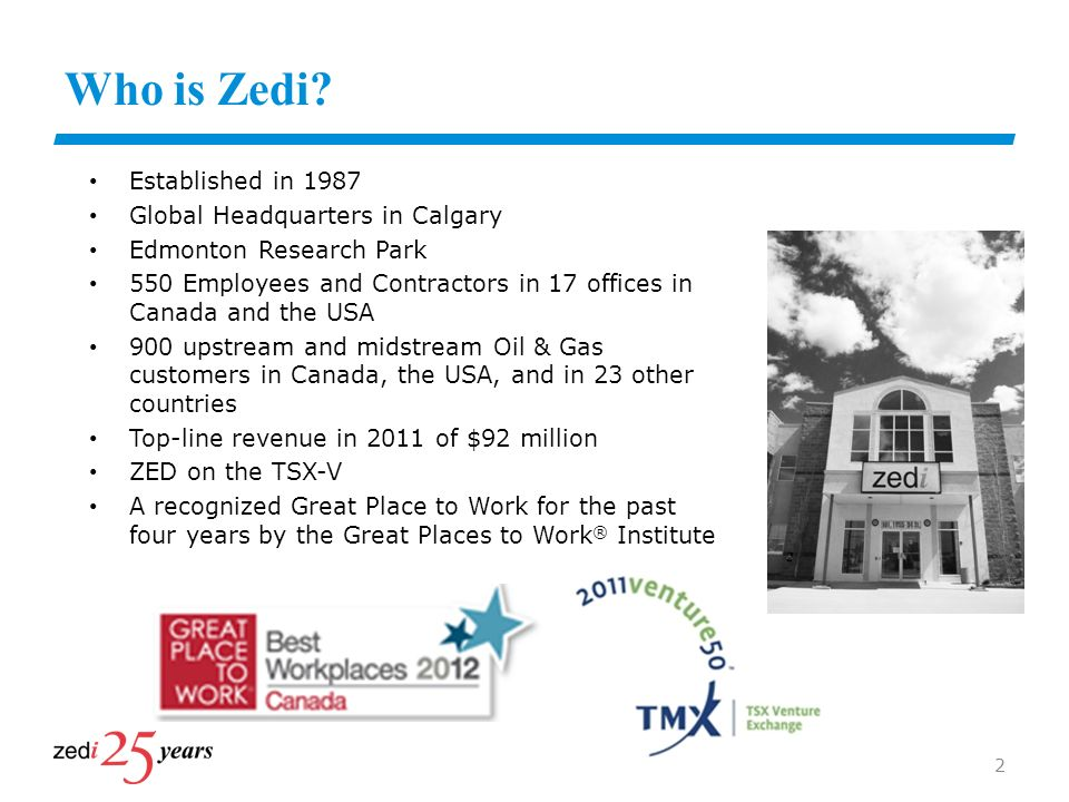 Who is Zedi Established in 1987 Global Headquarters in Calgary