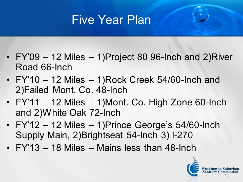 Five Year Plan FY'09 – 12 Miles – 1)Project 80 96-Inch and 2)River Road 66-Inch.