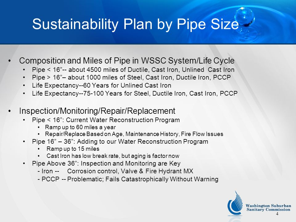 Sustainability Plan by Pipe Size