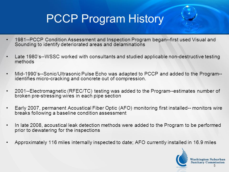 PCCP Program History