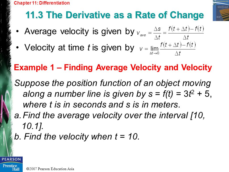 11.3 The Derivative as a Rate of Change