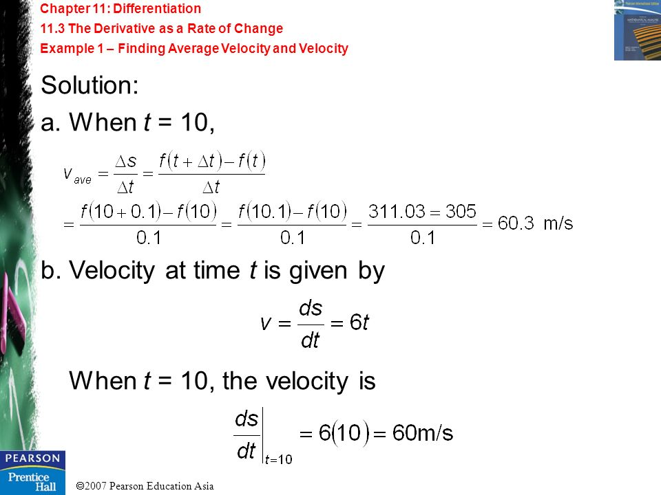 b. Velocity at time t is given by