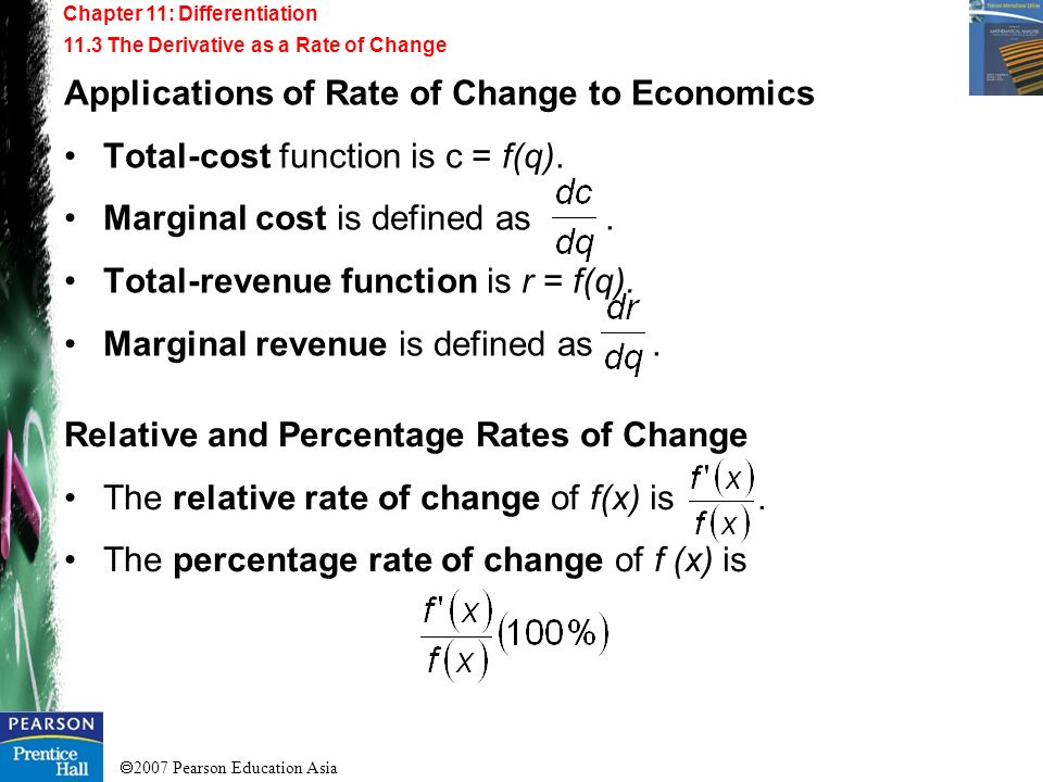 Applications of Rate of Change to Economics