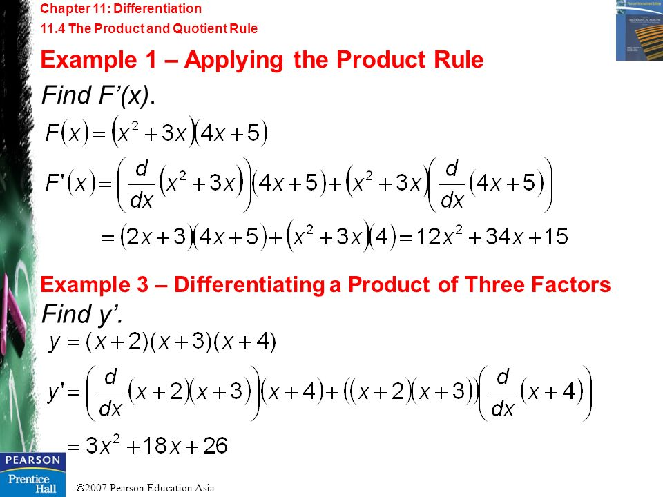 Find F'(x). Find y'. Example 1 – Applying the Product Rule