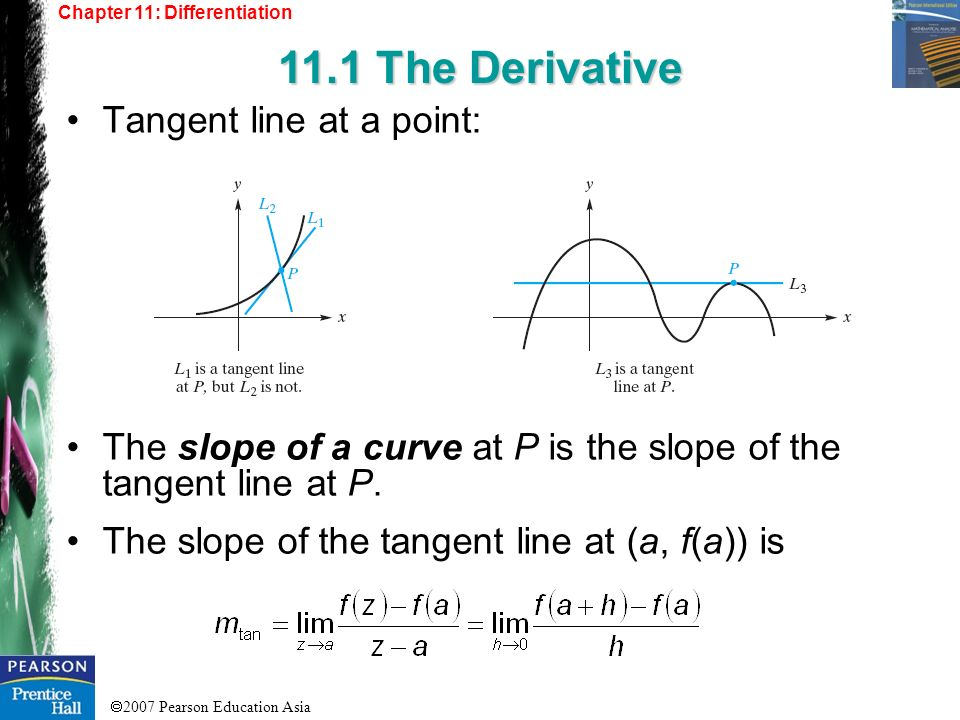 11.1 The Derivative Tangent line at a point: