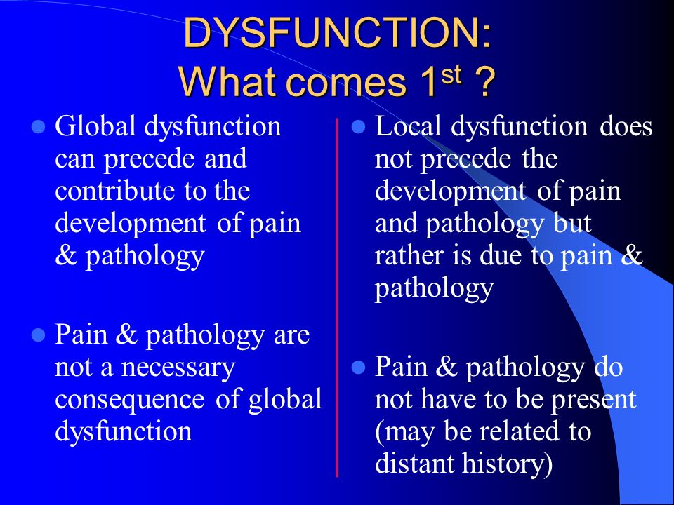 DYSFUNCTION: What comes 1st