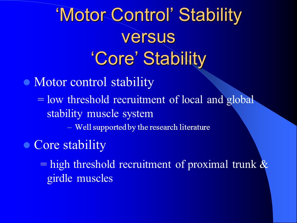 'Motor Control' Stability versus 'Core' Stability