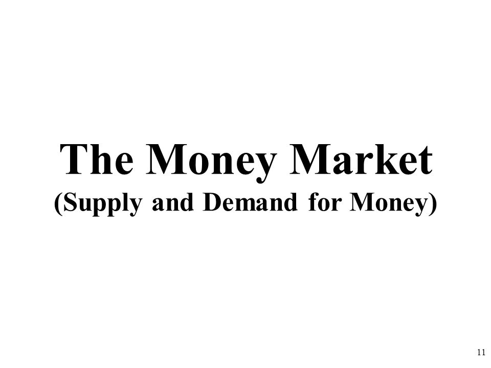 The Money Market (Supply and Demand for Money)