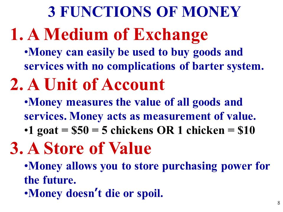 1. A Medium of Exchange 2. A Unit of Account 3. A Store of Value