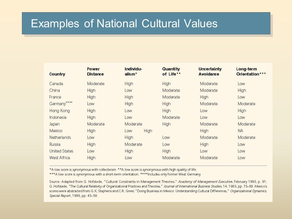 Examples of National Cultural Values