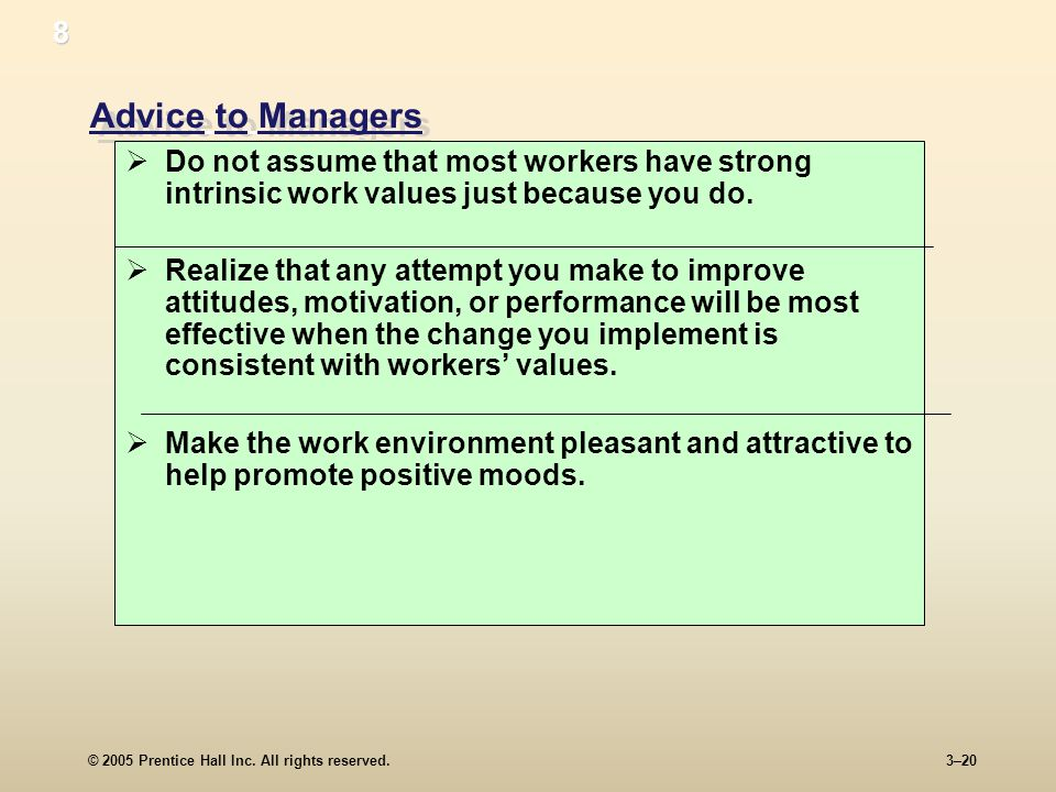 8 Advice to Managers. Do not assume that most workers have strong intrinsic work values just because you do.