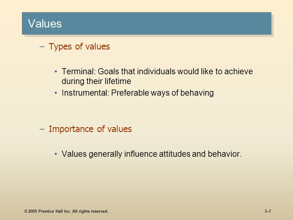 Values Types of values Importance of values