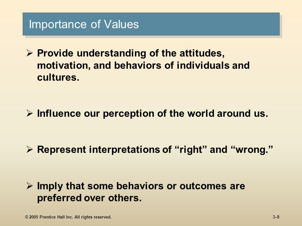 Importance of Values Provide understanding of the attitudes, motivation, and behaviors of individuals and cultures.
