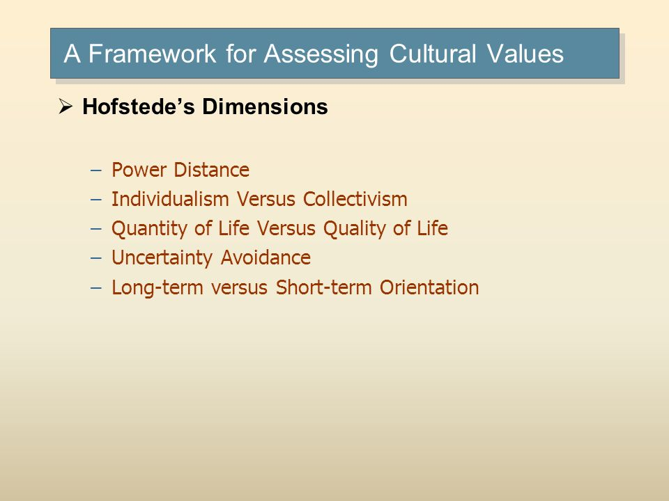 A Framework for Assessing Cultural Values