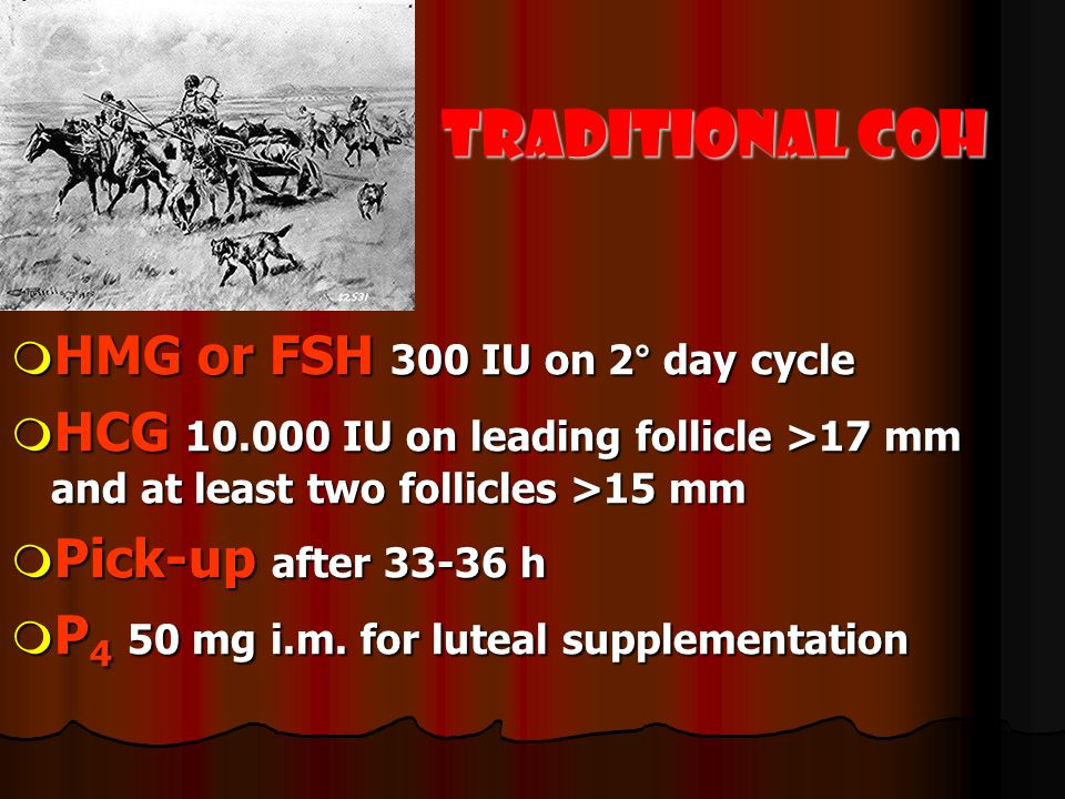 Traditional COH HMG or FSH 300 IU on 2° day cycle