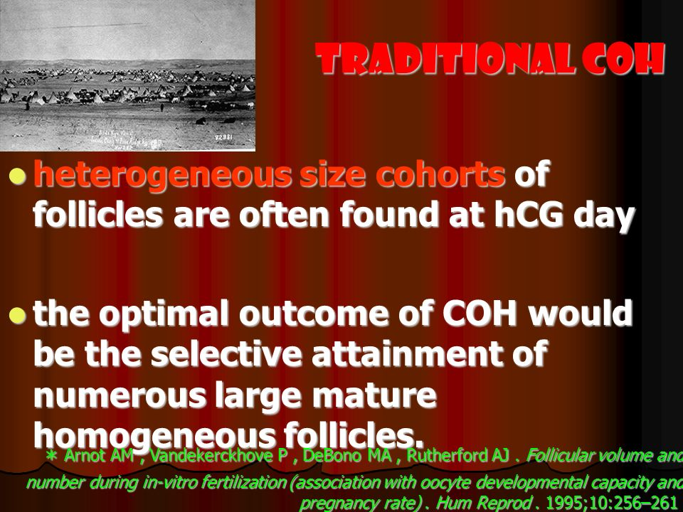 Traditional COH heterogeneous size cohorts of follicles are often found at hCG day.