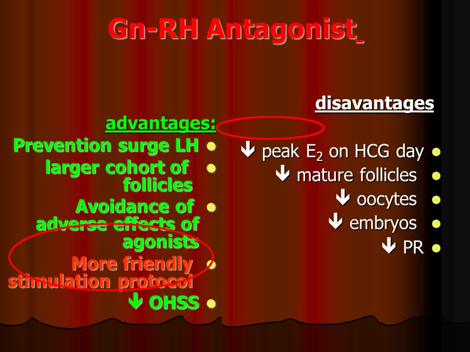 Gn-RH Antagonist disavantages advantages:  peak E2 on HCG day