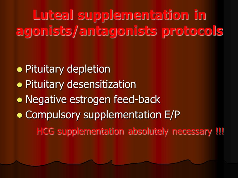 Luteal supplementation in agonists/antagonists protocols