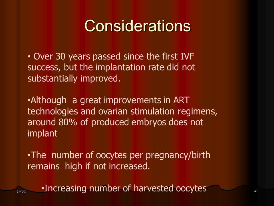 Considerations Over 30 years passed since the first IVF success, but the implantation rate did not substantially improved.