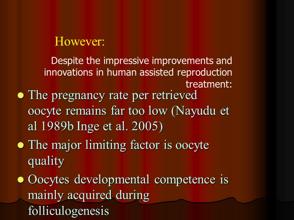 The major limiting factor is oocyte quality