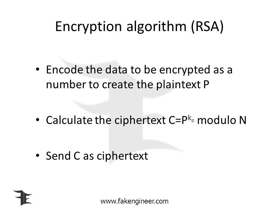 Encryption algorithm (RSA)