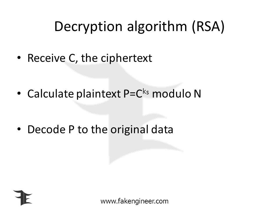 Decryption algorithm (RSA)