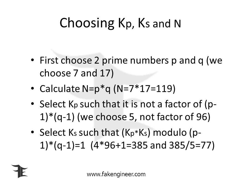 Choosing Kp, Ks and N First choose 2 prime numbers p and q (we choose 7 and 17) Calculate N=p*q (N=7*17=119)