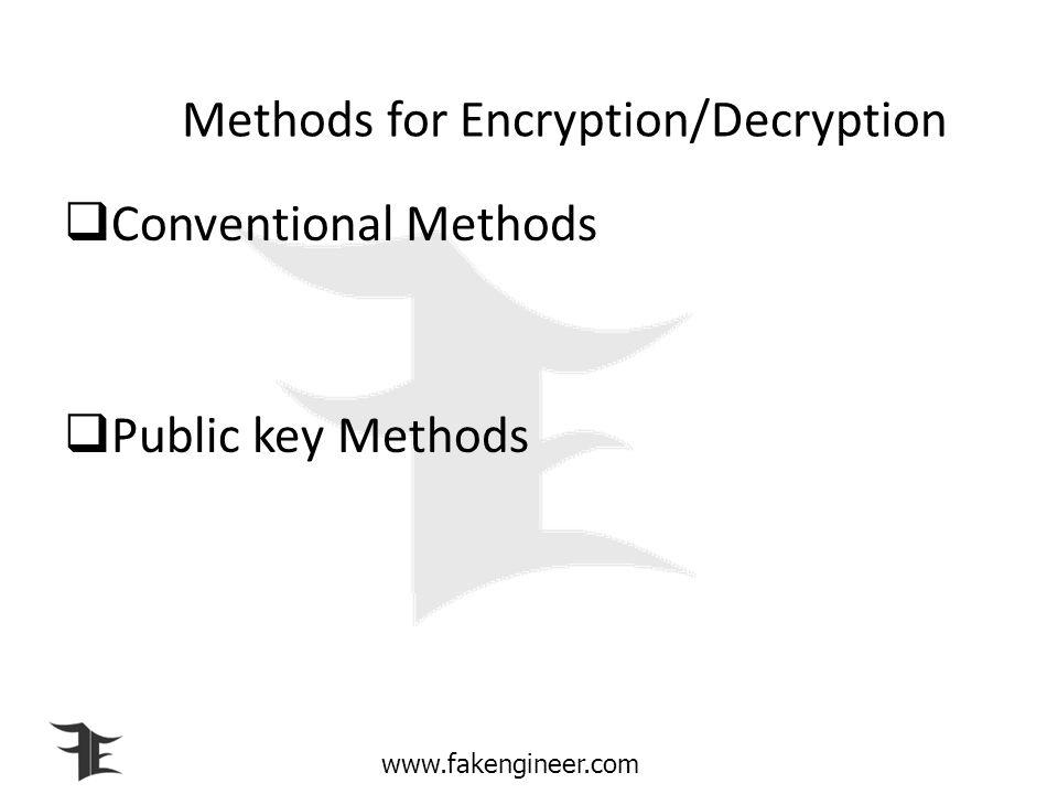 Methods for Encryption/Decryption