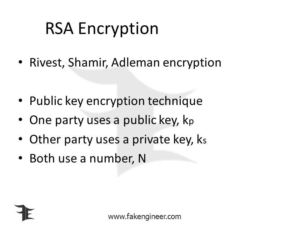 RSA Encryption Rivest, Shamir, Adleman encryption