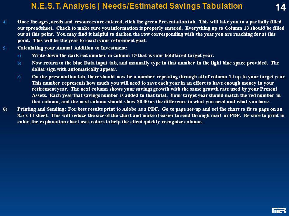 N.E.S.T. Analysis | Needs/Estimated Savings Tabulation
