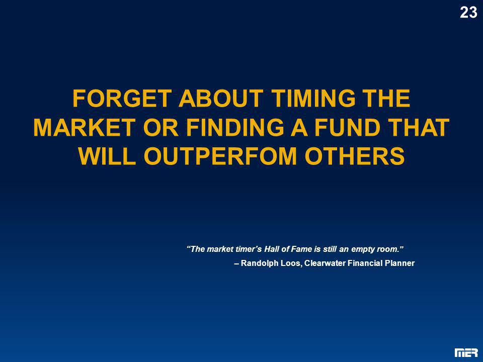 23FORGET ABOUT TIMING THE MARKET OR FINDING A FUND THAT WILL OUTPERFOM OTHERS. The market timer's Hall of Fame is still an empty room.