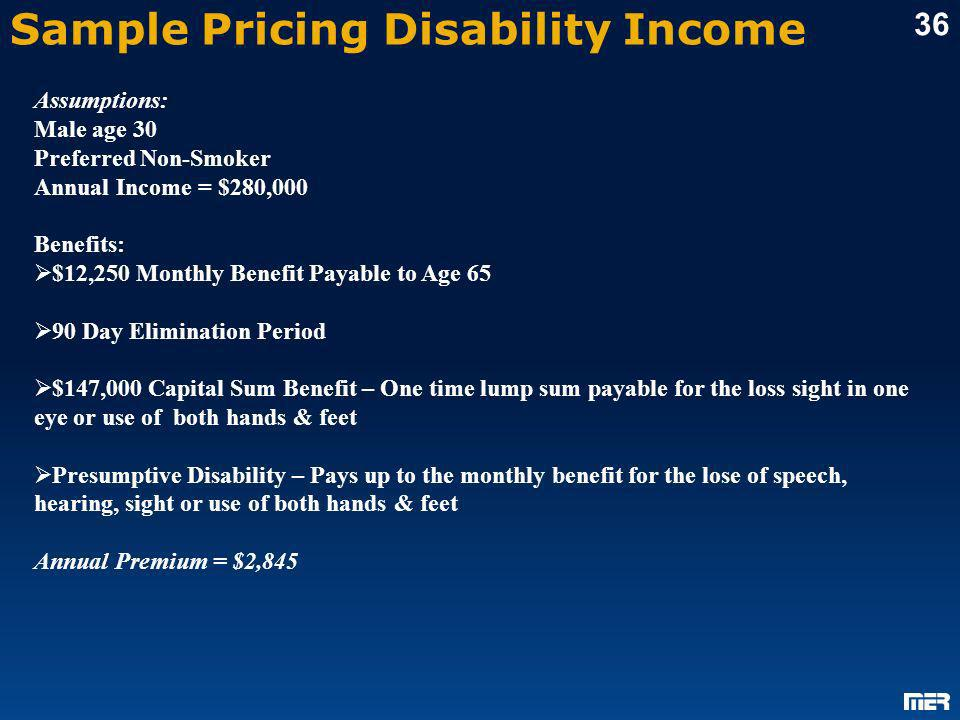 Sample Pricing Disability Income