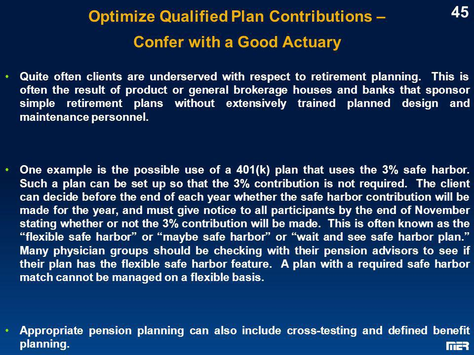 Optimize Qualified Plan Contributions – Confer with a Good Actuary
