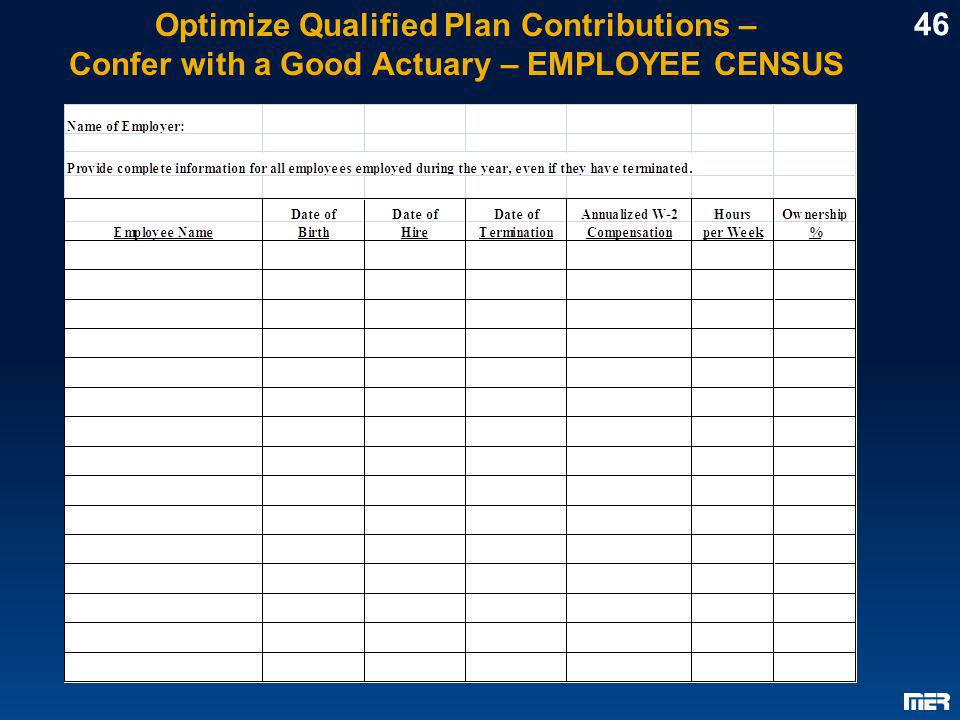 Optimize Qualified Plan Contributions –