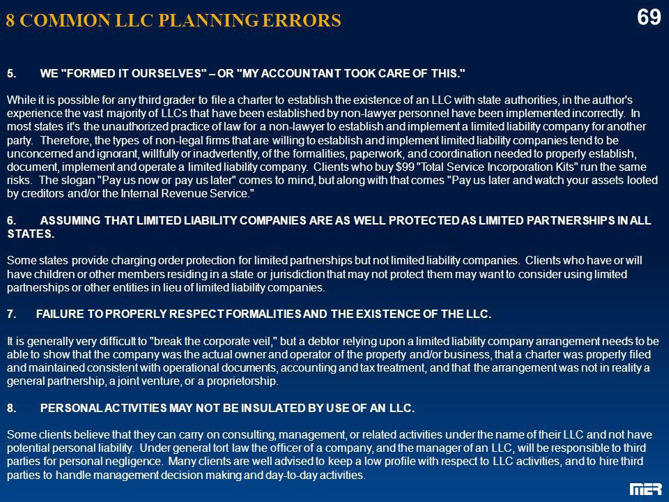 69 8 COMMON LLC PLANNING ERRORS