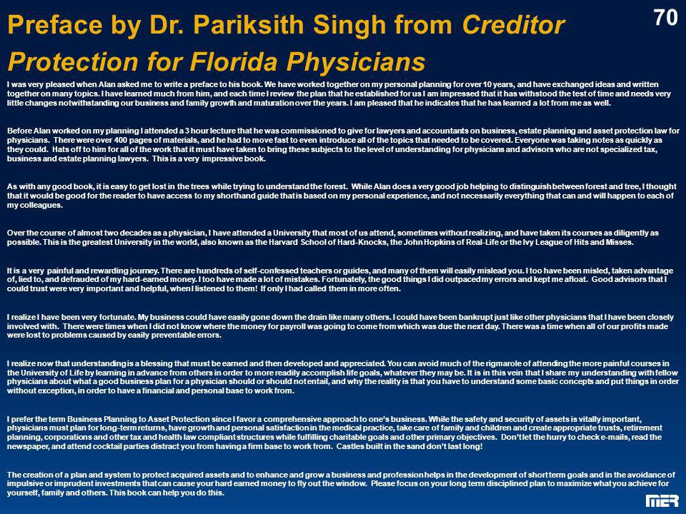 Preface by Dr. Pariksith Singh from Creditor Protection for Florida Physicians