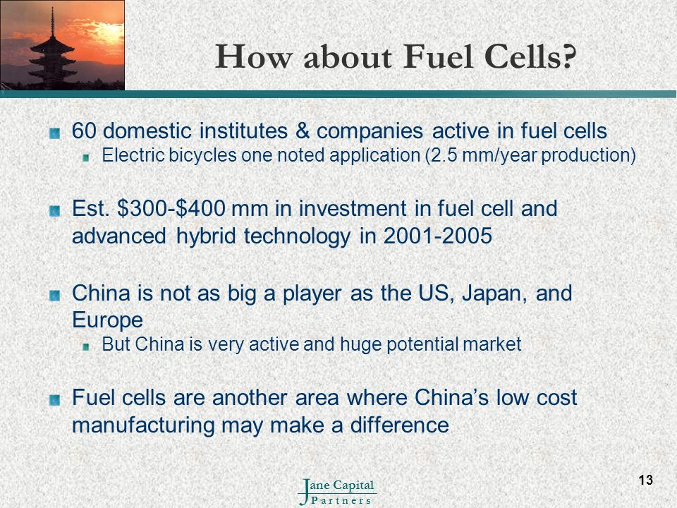 How about Fuel Cells 60 domestic institutes & companies active in fuel cells. Electric bicycles one noted application (2.5 mm/year production)