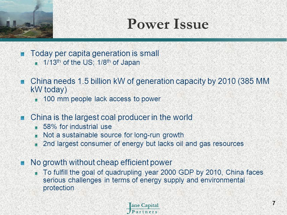 Power Issue Today per capita generation is small