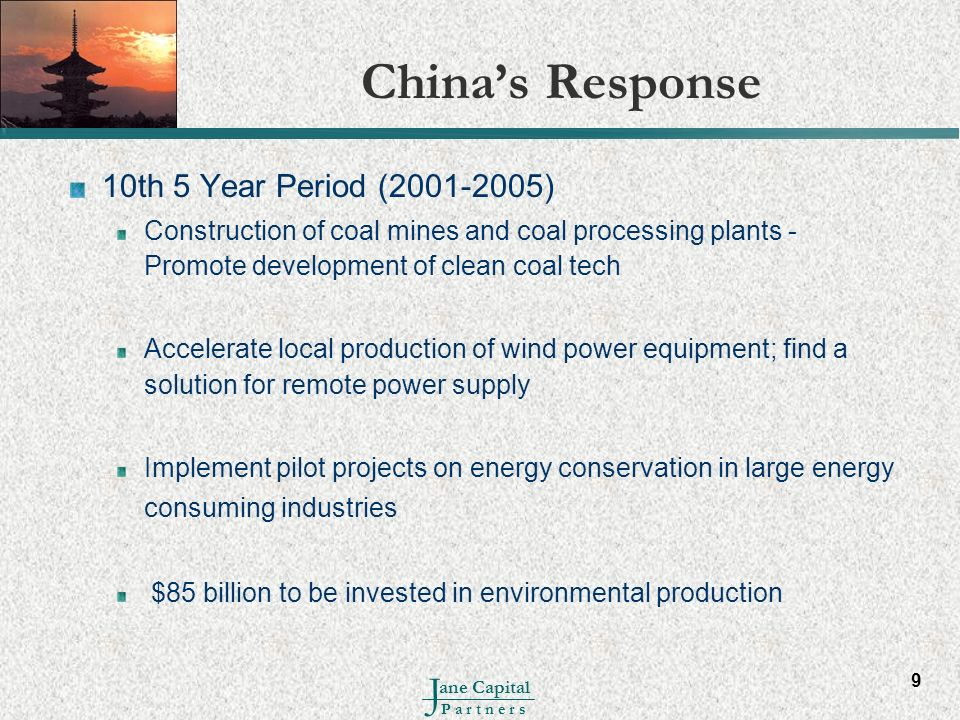 China's Response 10th 5 Year Period (2001-2005)