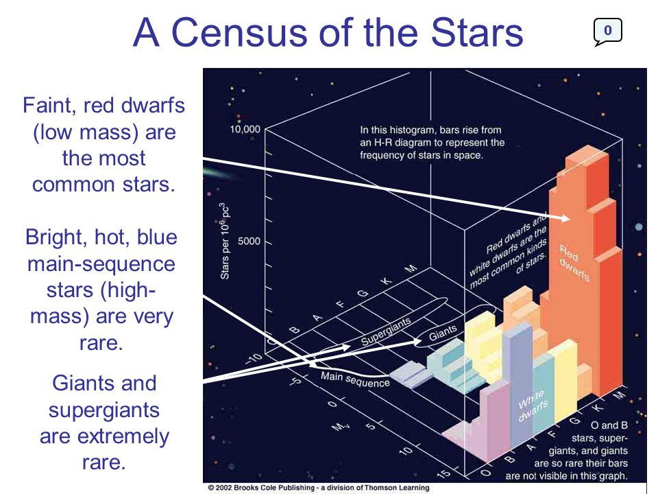 A Census of the Stars Faint, red dwarfs (low mass) are the most common stars.