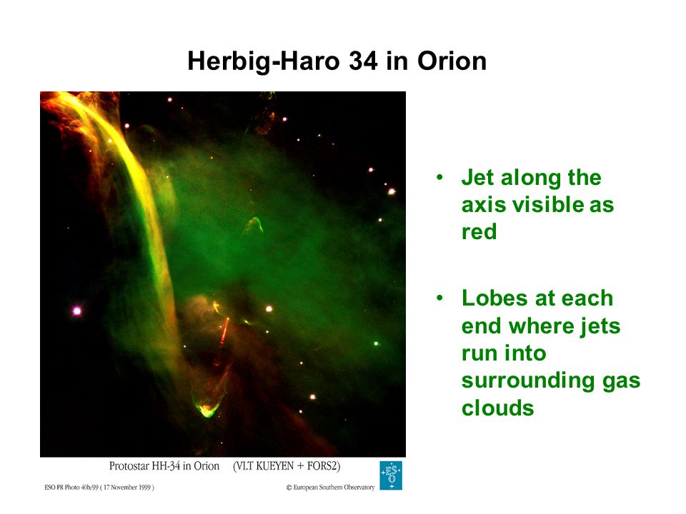 Herbig-Haro 34 in Orion Jet along the axis visible as red