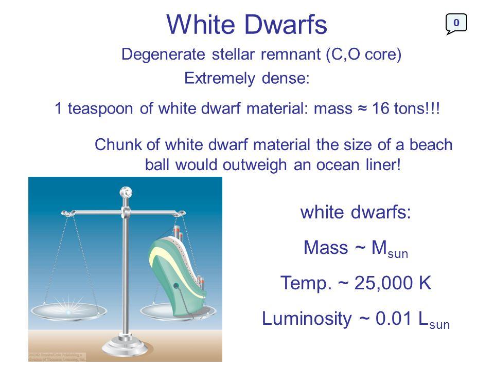 White Dwarfs white dwarfs: Mass ~ Msun Temp. ~ 25,000 K