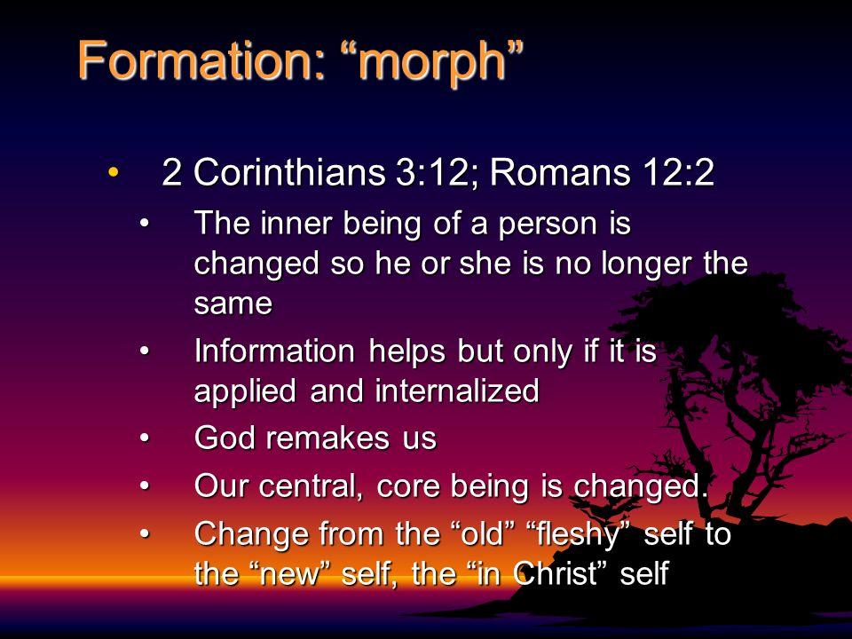 Formation: morph 2 Corinthians 3:12; Romans 12:2
