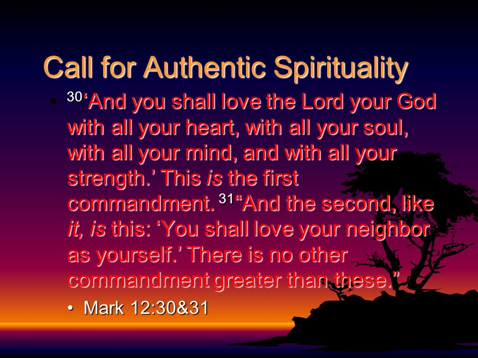 Call for Authentic Spirituality