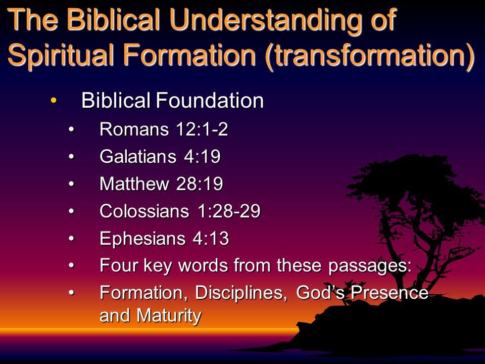 The Biblical Understanding of Spiritual Formation (transformation)