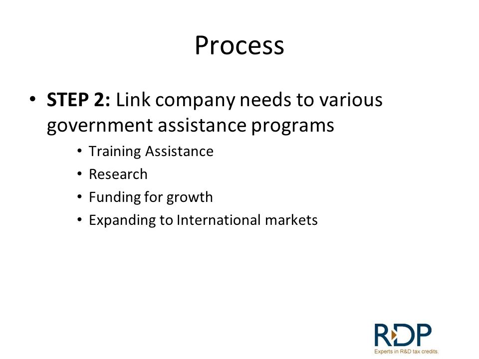 Process STEP 2: Link company needs to various government assistance programs. Training Assistance.