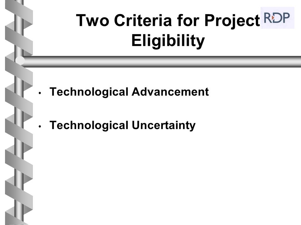 Two Criteria for Project Eligibility