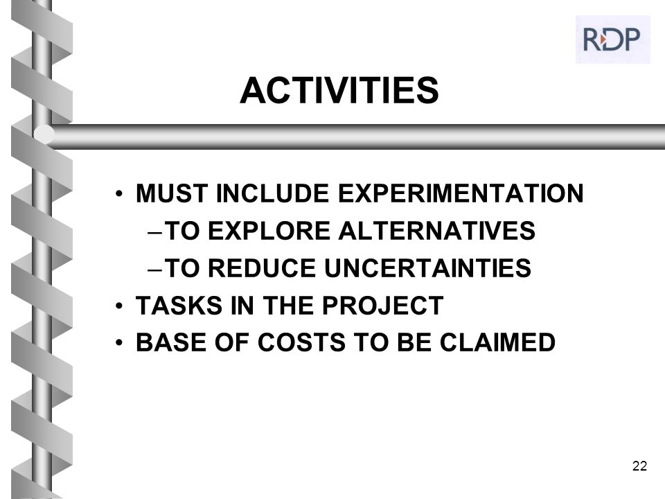 ACTIVITIES MUST INCLUDE EXPERIMENTATION TO EXPLORE ALTERNATIVES
