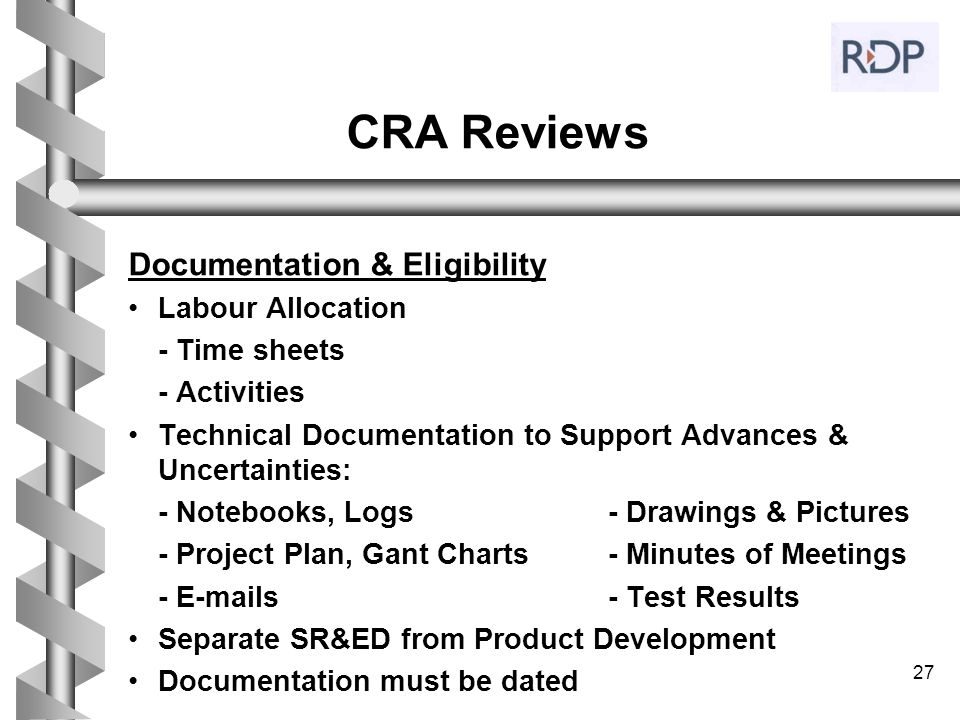 CRA Reviews Documentation & Eligibility Labour Allocation