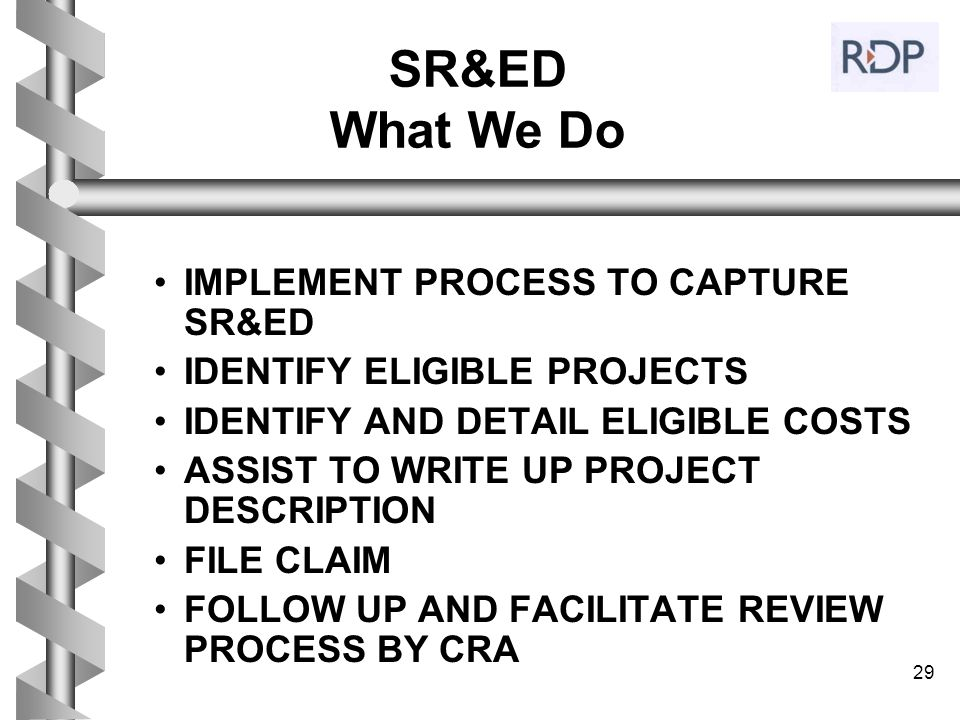 SR&ED What We Do IMPLEMENT PROCESS TO CAPTURE SR&ED